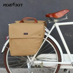 Tourbon Vintage Bike Bag Rear Waterpoof Canvas Roll-up Doubl